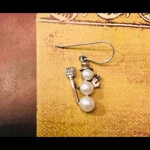 ☃️ Silpada Sterling Silver & Pearl Snowman Earring